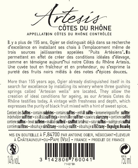 FLES ARTESIS COTES DU RHONE OGIER 0.75 LTR-2983